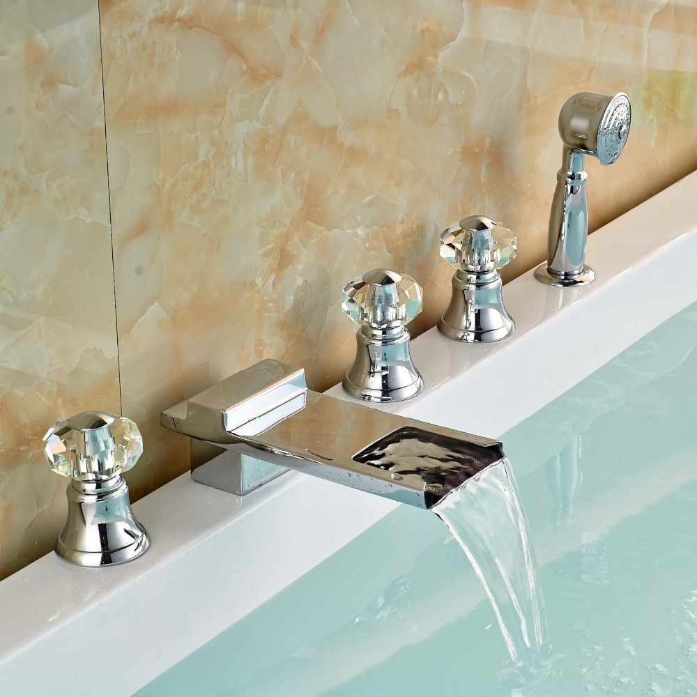 Luxury Widespread Waterfall Bath Tub Faucet Taps Deck Mount Roman Tub Mixer Taps Brass Handshower deck mount luxury 5pcs bathtub tub mixer taps bathroom widespread chrome brass bath tub faucet with handshower