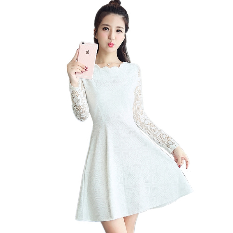 bac18c33aac Spring Autumn Lace Dress 2018 New Korean Fashion Mini Vestidos Women Long  Sleeve Solid Slim A line Dress White Party Dresses -in Dresses from Women s  ...