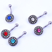 Vintage flower belly button rings body jewelry women  crystal navel piercing sexy pircing nipple septum ring