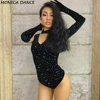 Sexy Stage Black Bodysuit Crystal Catsuit Nightclub Clothing DJ DS Singers Jumpsuit Sexy Stage Wear Costume Bling Outfit