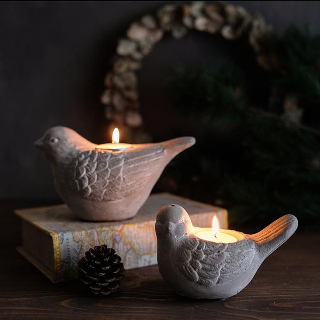 The Birds Cement Candlestick Retro Cafe Art Decoration Home Furnishing Creative Ornaments Candle Silicone Mold