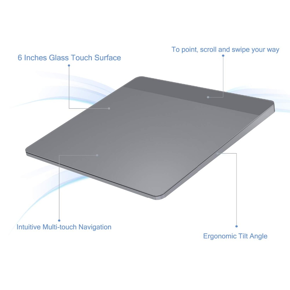 Pavé tactile sans fil Rechargeable de peigne de gelée avec le récepteur Nano pavé tactile sans fil pour le PC portable tablette tactile d'usb pour Windows 10 Mac OS - 4