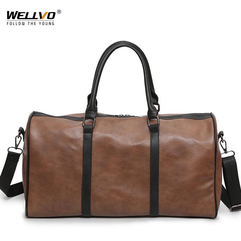 Men Women Leather Gym Duffel Shoulder Bag Travel Luggage Large Handbag Tote !