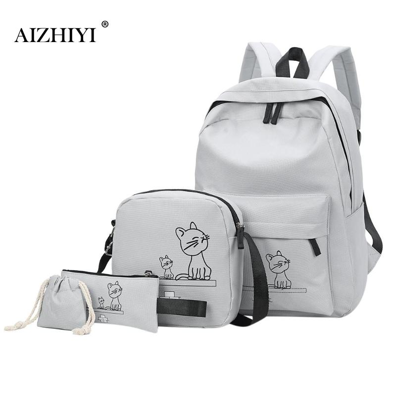 4Pcs/Set Cartoon Cats Printed Mochila Canvas Backpack Travel Rucksacks Casual Backpacks For Teenage Girls School Backpack