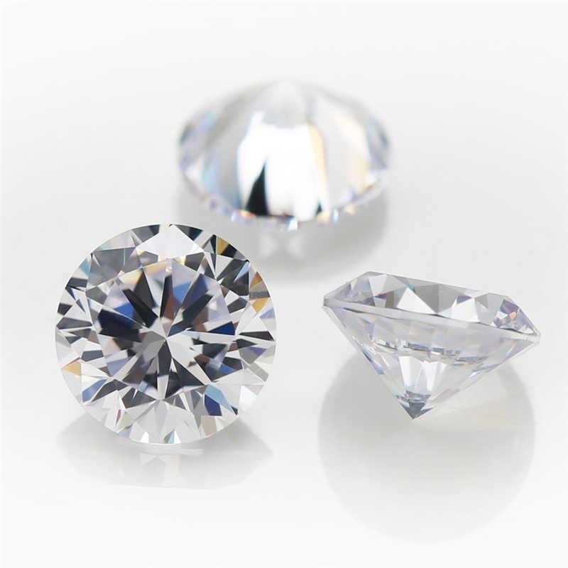 100 個 3 〜 25 ミリメートル 5A 白緩いキュービックジルコニア 6 ミリメートルビーズ石ラウンドカット CZ 石合成宝石