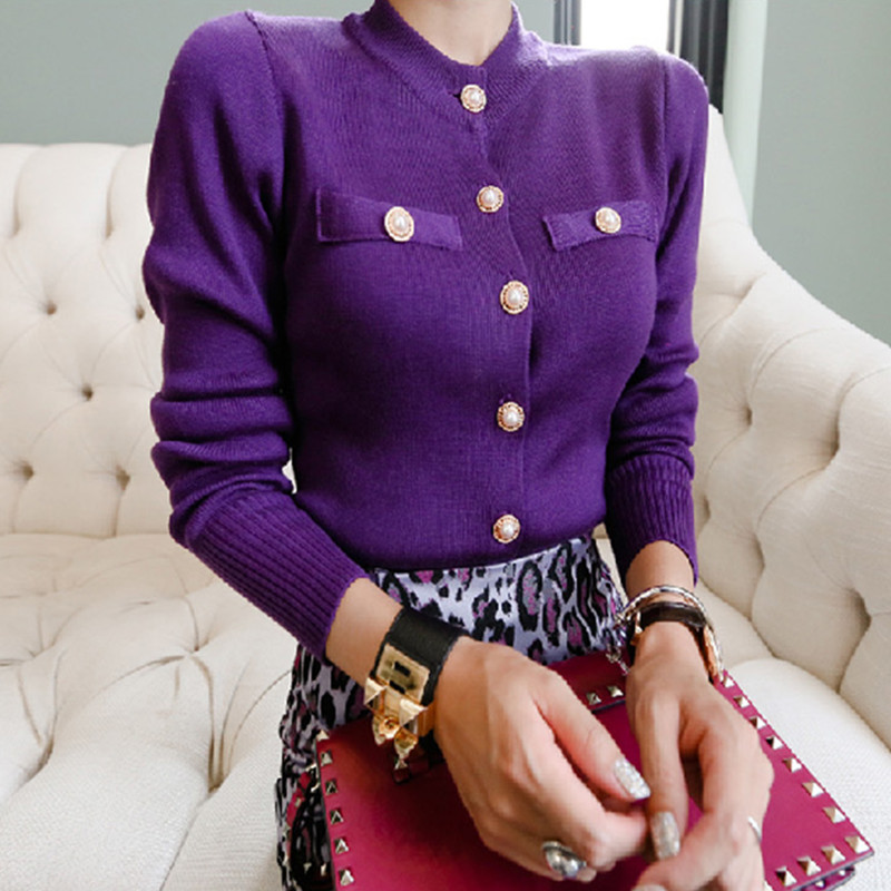 New Arrival Elegant Purple Knit Cardigan Coat 2018 Spring Autumn Thin Runway Sweater Button Knit Female Jersey Mujer Invierno