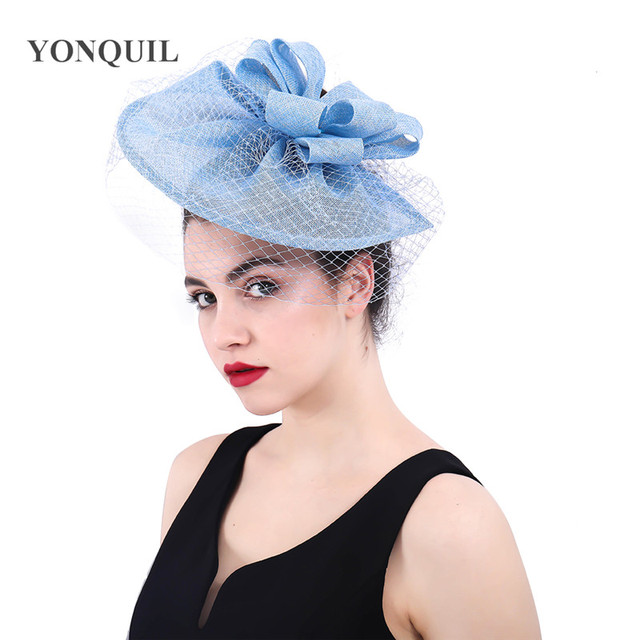 Hair fascinators hat derby royal big headwear veils with loops hair  accessories on hair clips for 35c42185312
