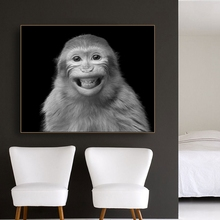 Smiling Monkey Realist Wall Art Decor Canvas Poster and Print Painting Decorative Picture for Living Room Home