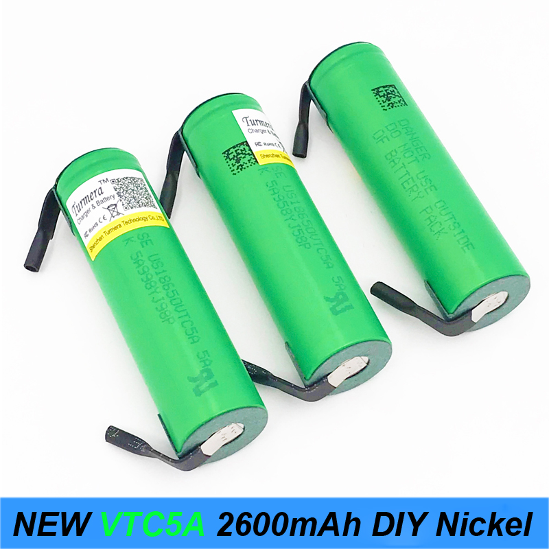 Turmera VTC5A 2600mAh 18650 Lithium Battery 30A Discharge for 100US18650VTC5A with DIY nickel Electronic Cigarette ues jun22