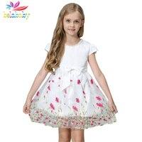 Belababy colar de pérolas da menina de flor vestidos 2017 moda verão crianças bow caixilhos vestido floral branco de manga curta vestido de princesa