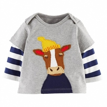 Fashion Baby Boy Clothes Cute Cartoon Bear Deer Colors Pattern Long Sleeve Outwear Pullover Kids Children Free Shipping