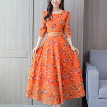 Bohemian Printing Long Dress O-neck Sleeve Big Hem Women Spring Summer Elegant Casual Vestidos De
