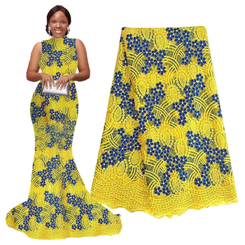 African Lace Fabric 2019 High Quality Lace Yellow Royal Blue Embroidery Tulle Net Lace French Fabrics with Stones