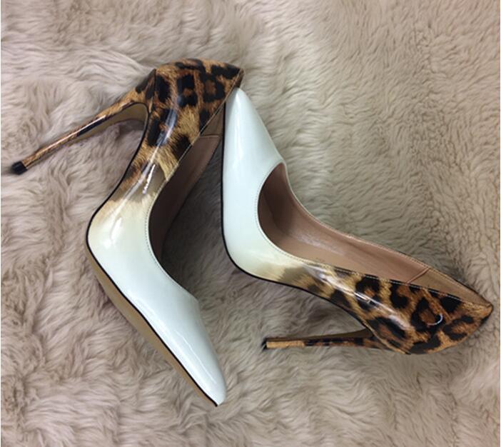 De Taille Chaussures Heel Léopard Talons 33 10cm Grand Heel Bout Fétiche Mariage Pompes Femme Valentine Blanc Hauts 43 Peau Pointu Brun Sexy 10cm 6wxB8da