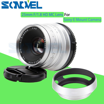 Silver 25mm F/1.8 HD MC Manual Focus Wide Angle Lens+Hood for Sony E Mount NEX-7 NEX-6 NEX-5R A7R A7SII A6100 A6000 A6300 A6500