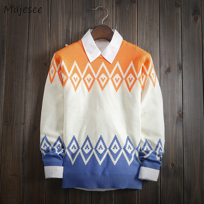 Sweaters Men Plus Size Printed Simple Soft All-match Korean Style Leisure Thicker Warm Winter Knitting Sweater Mens Ulzzang Tops