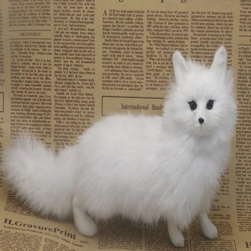 Gift artificial animal fox model decoration plush animal toys cartoon pet arctic fox gift
