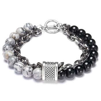 LKO New arrive Stainless steel Men tiger eyes Black Mantra Prayer Beads Buddha Bracelet 1
