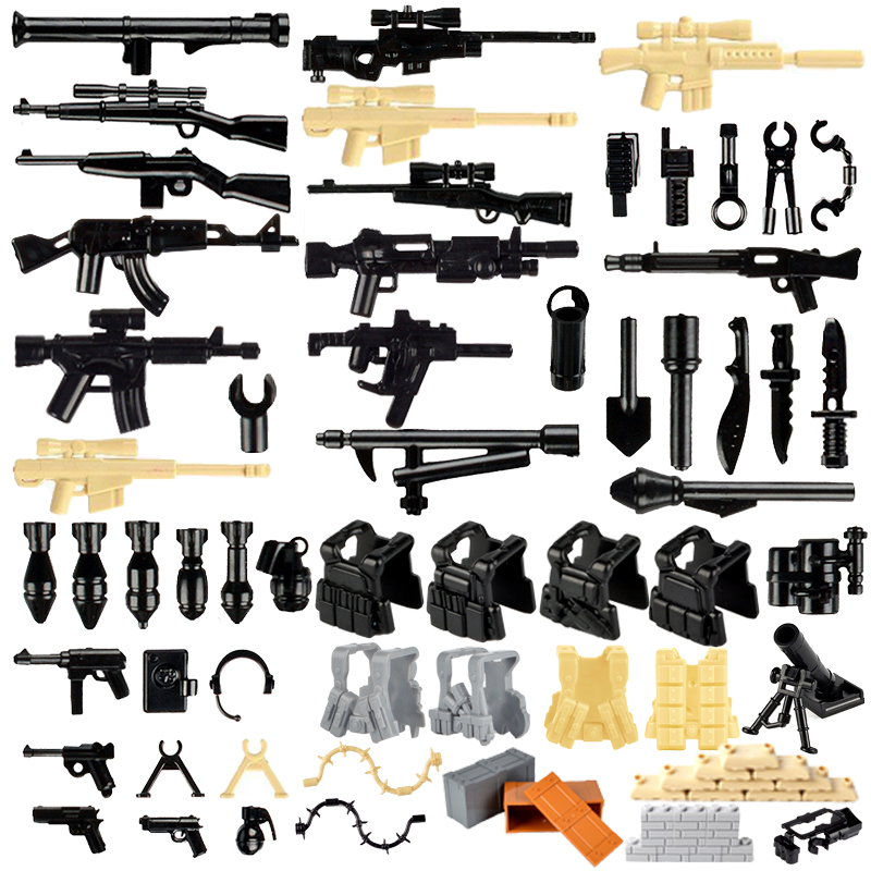 Military Swat Team Guns Weapon Pack Building Blocks City Police Soldiers Figure WW2 LegoINGlys Military Army Builder Series Toys