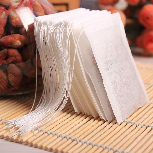 FoodyMine 100PCS Tea Bags 5.5 x 7 CM Popular Healthy String Heat Seal Filter Paper Herb Loose TeaBags Tea infuser Strainer