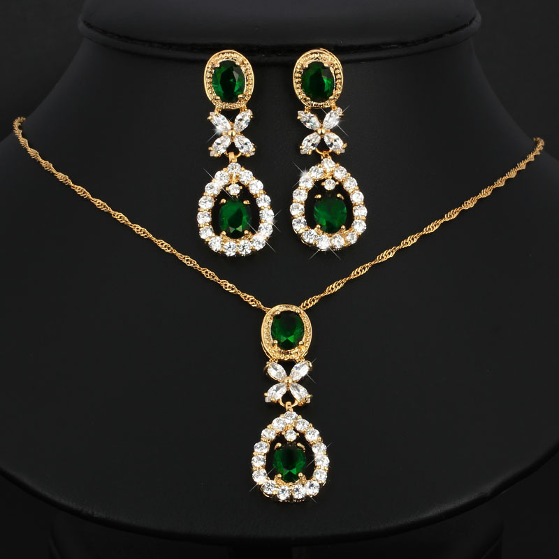 Fashion Emerald Crystal Bridal Jewelry Set Wedding Prom Party Accessories Gold Plated Necklace Earring Set For Brides Women