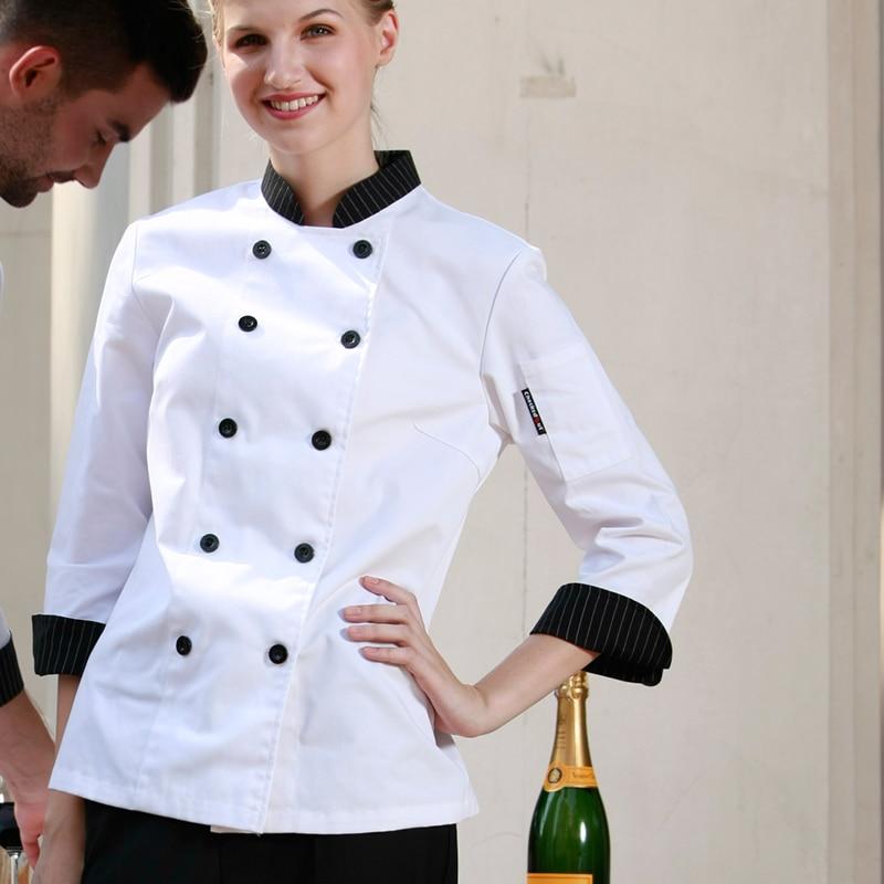 Fashion Double Breasted Long Sleeves Restaurant Hotel Kitchen Female Women Chef Coats Jackets Uniform
