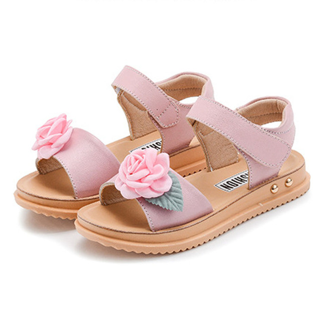 49d18203a Kitiin 2017 Summer Girls Flower Sandals Luxury Leather Girl Beach Shoes  Fancy Children Summer Footwear Ankle