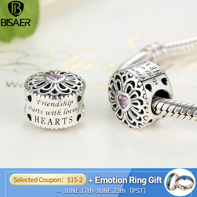 Hot Sale 925 Sterling Silver Love & Friendship, Pink CZ Beads Fit BISAER Charms Bracelets Original Silver 925 Fashion Jewelry