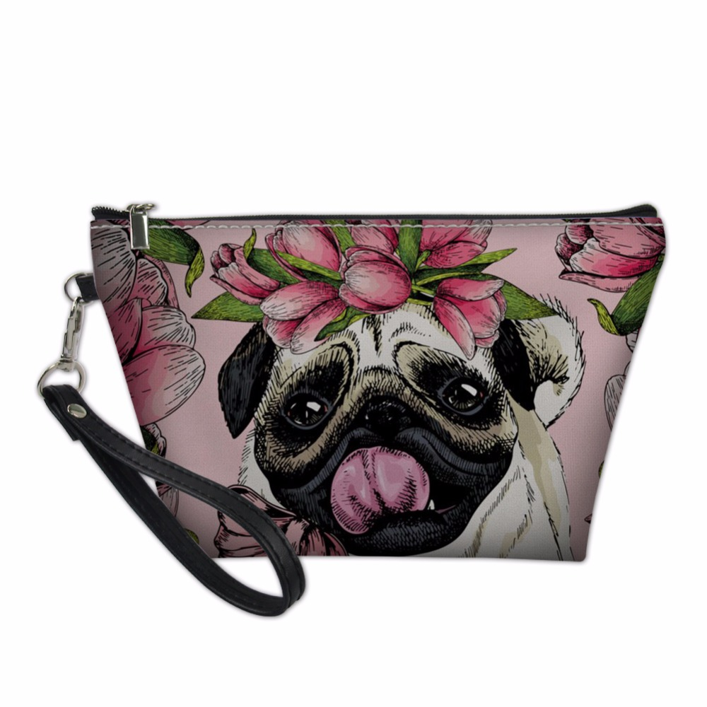 THIKIN Makeup Bag Pouch Organizers Bags for Women Make Up Pouchs Cute Pug Dog Pattern Toiletry Bag Cosmetics Functional 55 Bag