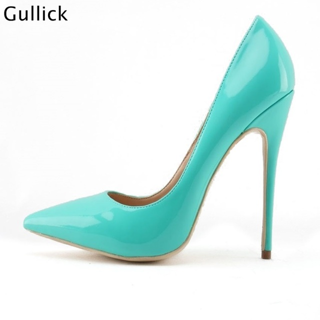 pretty nice 2aac4 3291d Chic Turquoise Color Popular Woman Pointed Toe Pumps Shallow Thin High  Heels 12CM Or 10CM Big Size Woman Stilletos Party Shoes
