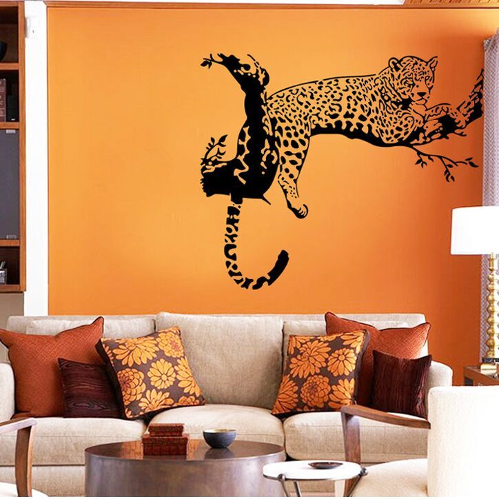 Creative Leopard Personalized Innovation Wall Stickers Living Room TV/Sofa  Background Home Decoration Wall Decals
