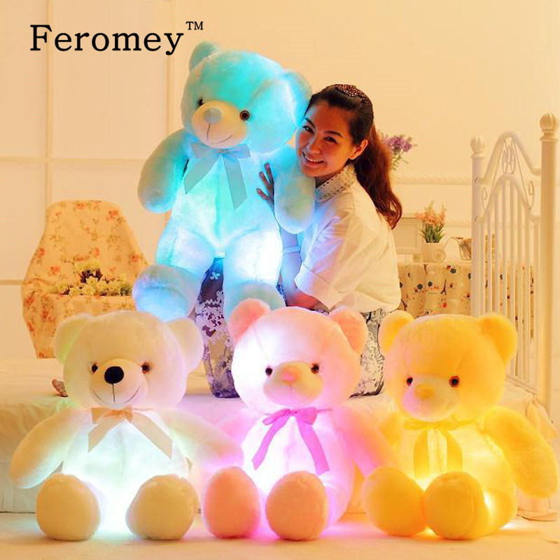 32/50cm Big Colorful Glowing Teddy Bear Luminous Plush Toys Kawaii Light Up Led Teddy Bear Stuffed Toys Doll Kids Christmas Gift kawaii big stuffed