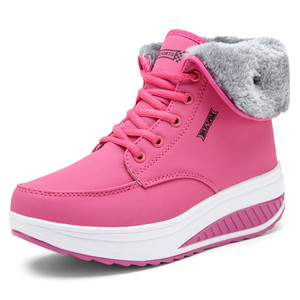 Image 4 - Christmas Winter Shoes Woman Warm Plush Furry Boots Snow Boots Outdoor Ankle Wedges Fur Boots Casual Shoes Zapatos De Mujer