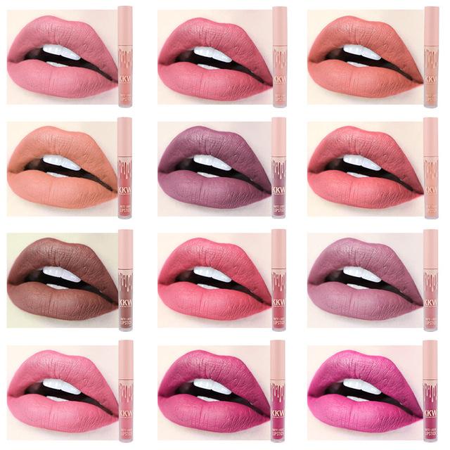 2018 New Lady Makeup Waterproof Liquid Lip Gloss Pop Matte Kkw Llipstick Lasting Kilie Lip Tint Red Pop Kyliejenner Lipsticks