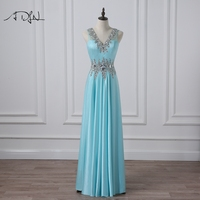 ADLN Sparkling Beaded Sky Blue Evening Gown V Neck Sleeveless Crystal Long Prom Party Dress Vestidos