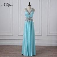 ADLN Sparkling Beaded Sky Blue Evening Gown V Neck Sleeveless Crystal Long Prom Party Dress Vestidos