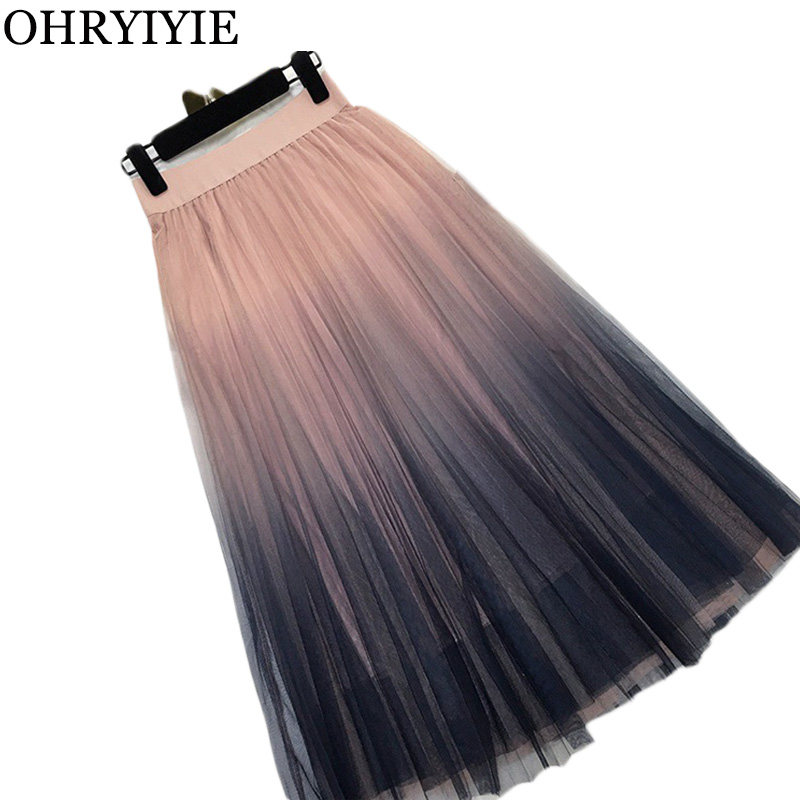 OHRYIYIE Women Gradient Color Tulle Skirt Women 2020 Summer Casual Patchwork Pleated Skirts Female Elegant High Waist Long Skirt