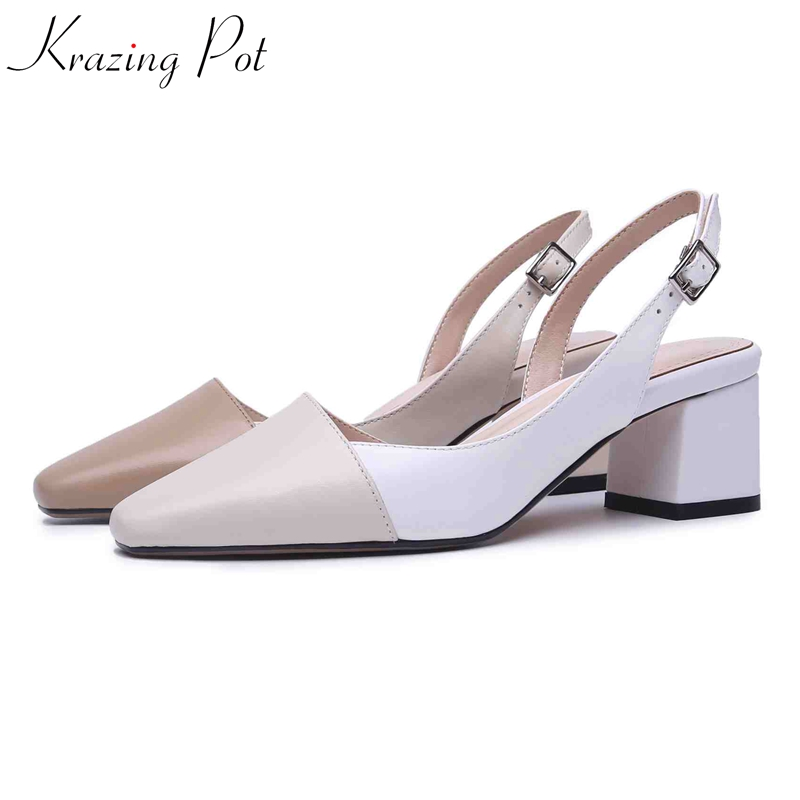 Krazing Pot Full Grain Leather Summer Fashion Buckle Straps Square Toe Square Heels Mixed Color Concise Women Shallow Pumps L19
