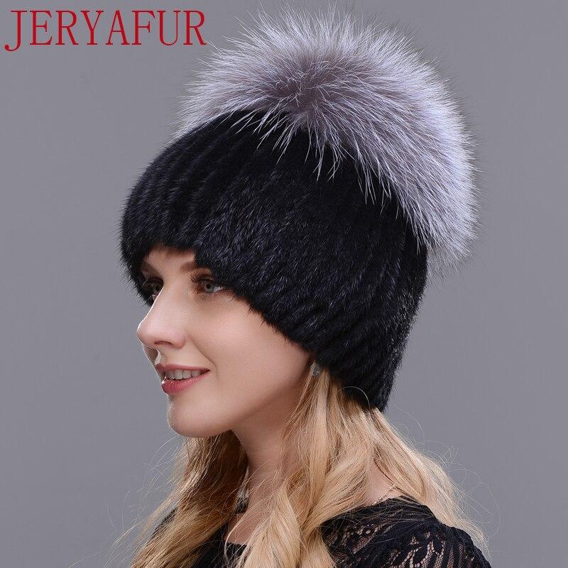 Sombrero de visón de mujer rusa de zorro recién listado sombrero de piel auténtica sombrero de esquí de invierno sombrero de punto hecho a mano 2017 envío Gratis - 2