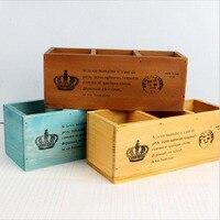 Home Garden Multifunction Wooden Storage Boxes Bins Creative Wood Box Pencil Vase Desktop Storage Case Office