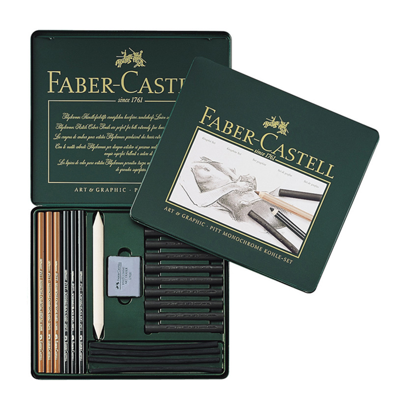 Gribouiller gribouiller FABER CASTELL 22 pièces croquis crayon ensemble caoutchouc charbon de bois papier peinture combinaison 112967