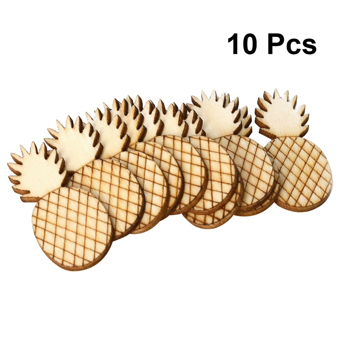 10pcs Funny Creative Painting DIY Wood Pineapple Ornament for Festival Gathering