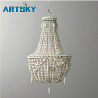 French American Retro White Wood Bead Chandeliers Kids Room Bedroom European Princess Room Bead Decorative Chandelier
