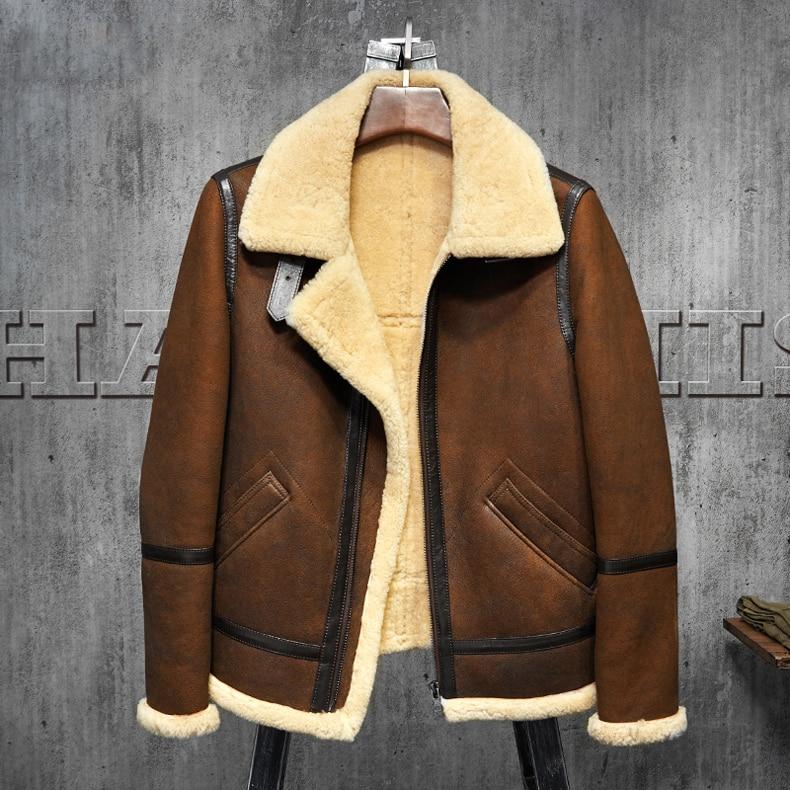 Men's Shearling Leather Jacket  Dark Brown B3 Jacket Original Flying Jacket Men's Fur Coat Aviation Leathercraft Pilots Coat WZ