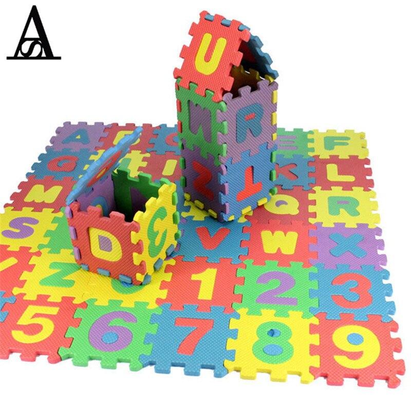 36 шт./компл. дети Ева английский письмо головоломки игровой коврик алфавит и число обучения игрушки детские развивающие игрушки 26 дюймов пе...