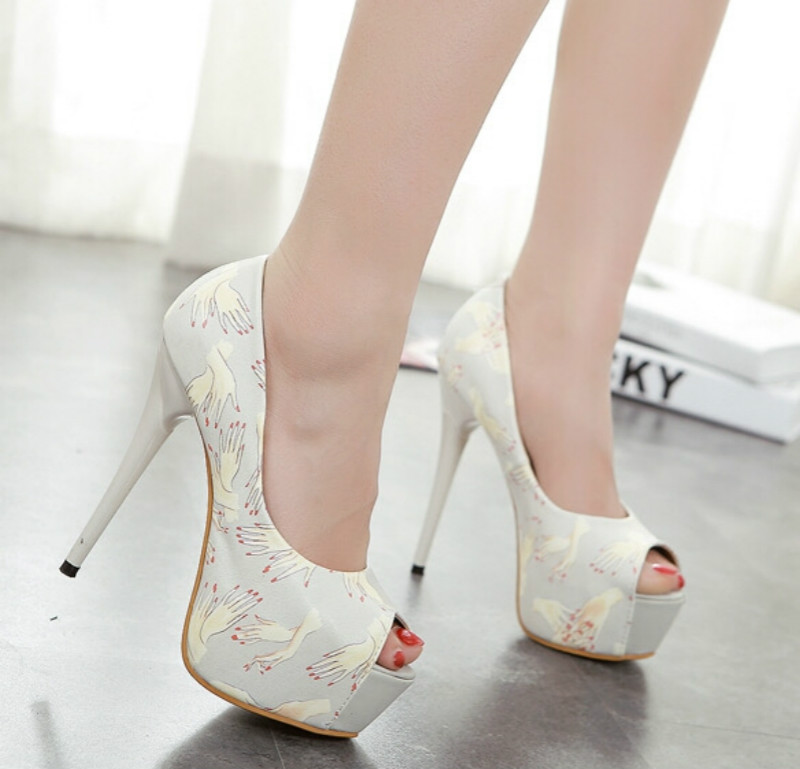 Sexy fine with the fish head shoes 14CM Waterproof shoes Floral fashion mixed colors high with