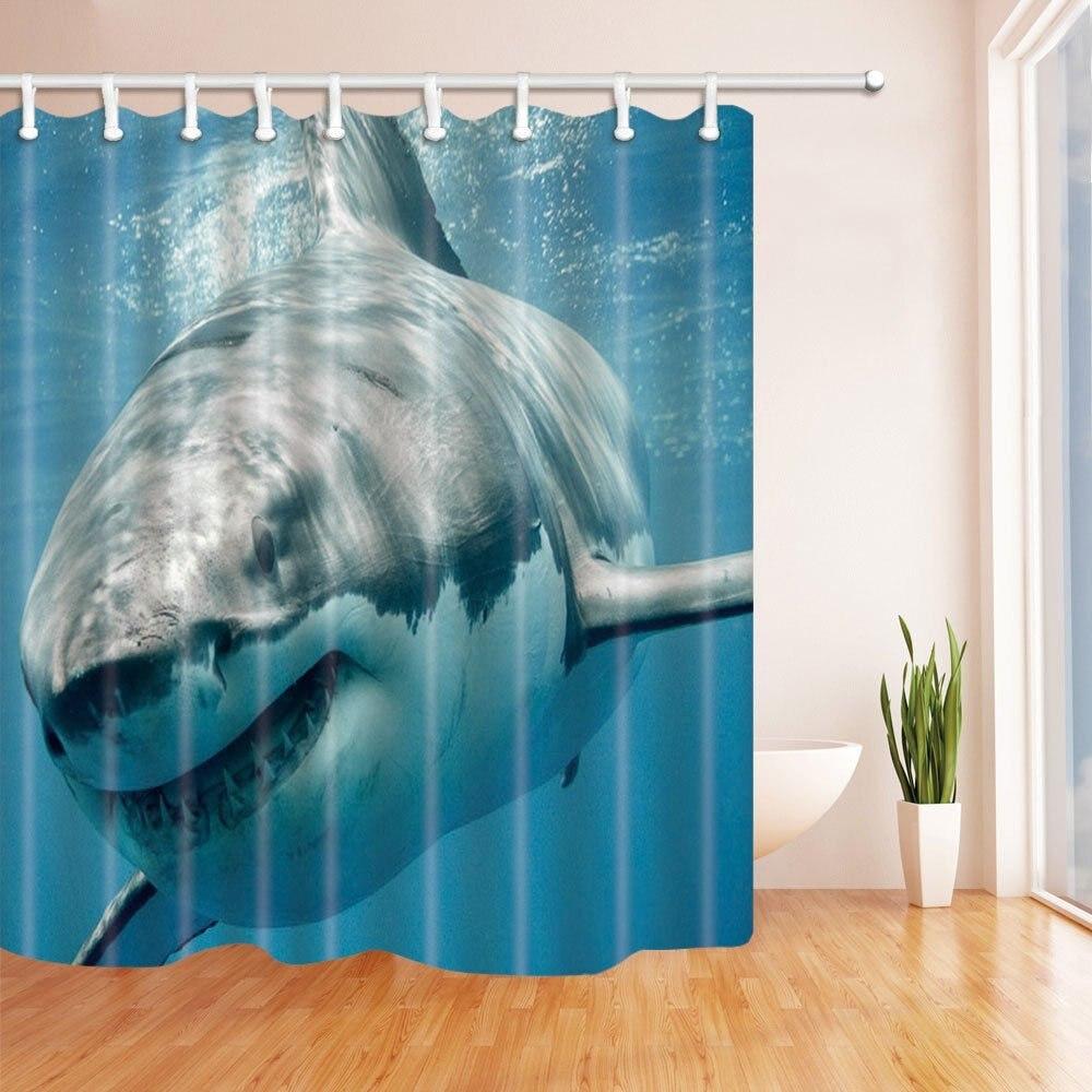 ocean shower curtain shark jaws tusk keenness predation in underwatar polyester fabric waterproof bathroom shower curtain set