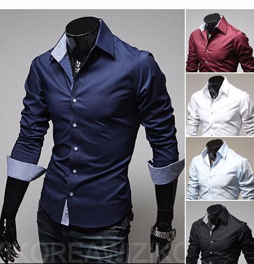 Mens Casual Shirts 2016 Hot Sale Mens Slim Fit Dress Long Sleeve Shirts Soild Male Social Shirts Designer Chemise Homme 3XL 25 2