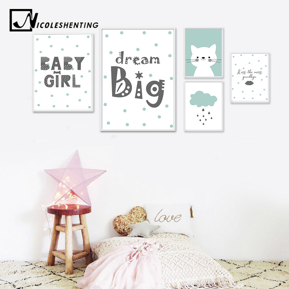 Us 3 13 44 Off Nicoleshenting Cartoon Art Canvas Posters Dream Big Nursery Quote Prints Painting Wall Picture Nordic Kids Bedroom Decoration In