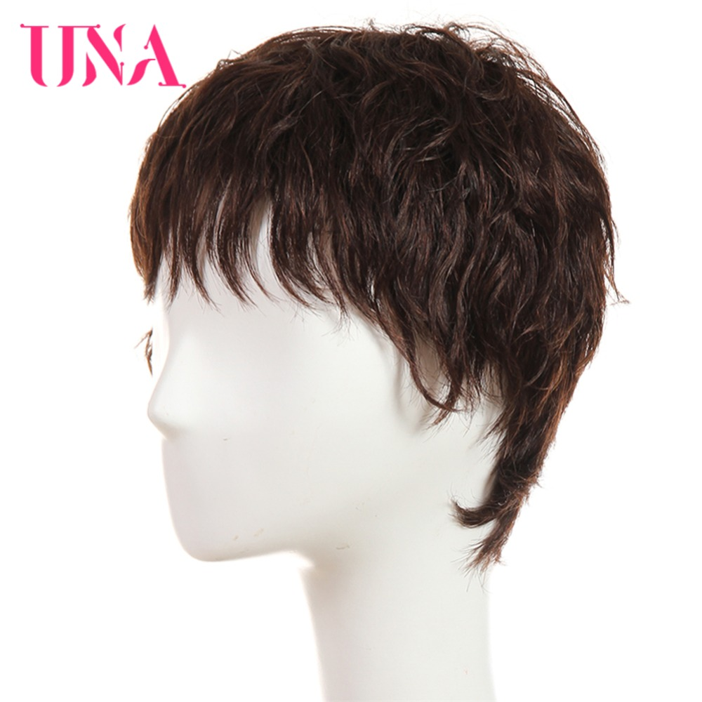 UNA Human Hair Wigs 6383 2 33 Non Remy Human Hair 150 Density Brazilian Straight Human Hair Wigs Machine Brazilian Hair Wigs in Full Machine Wigs from Hair Extensions Wigs